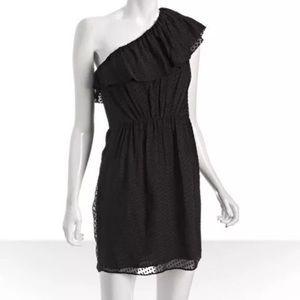 Shoshanna One Shoulder Silk Blend Dress Swiss Dot